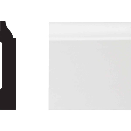 Royal 5/8 In. W. x 3-1/4 In. H. x 12 Ft. L. White PVC Colonial Base Molding