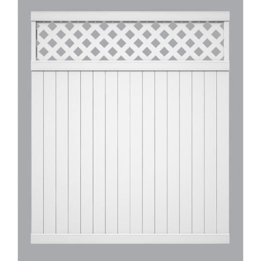 Outdoor Essentials 6 Ft. H. x 6 Ft. L. Lattice Top White Vinyl Privacy Fence