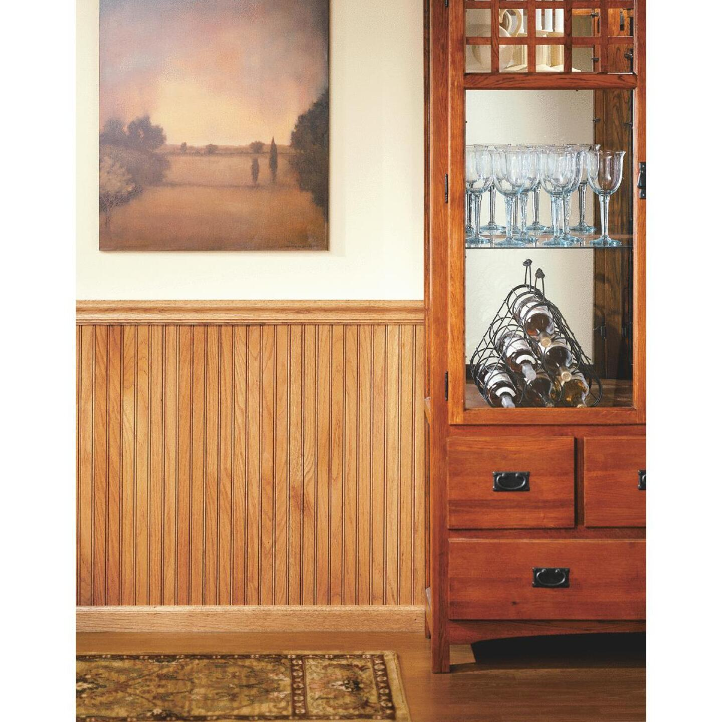 House of Fara 3 In. W. x 3/4 In. H. x 8 Ft. L. Solid Red Oak Wainscot Base Molding Image 2