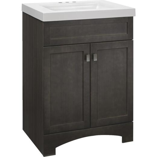 Continental Cabinets Davison Gray 24-1/2 In. W x 35-1/2 In. H x 18-3/4 In. D Vanity with Cultured Marble Top