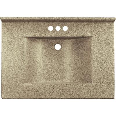 Imperial Marble 37 In. W x 22 In. D Cappuccino Faux Granite Vanity Top with Wave Bowl