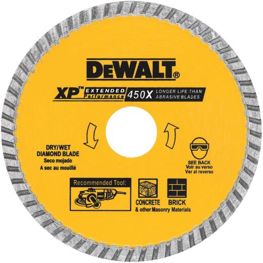 DeWalt Extended Performance 4 In. Turbo Rim Dry/Wet Cut Diamond Blade