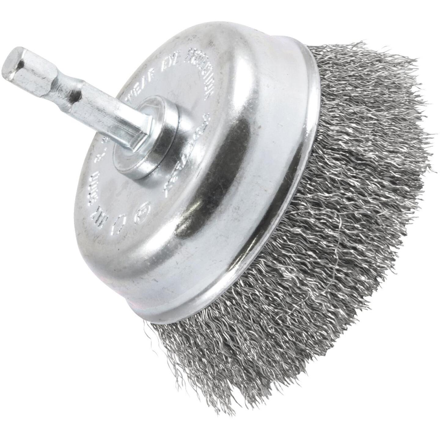 Forney 3 In. 1/4 In. Hex Fine Drill-Mounted Wire Brush Image 1