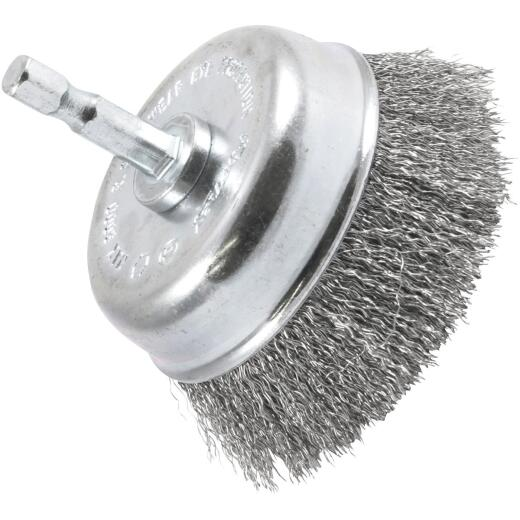 Forney 3 In. Hex .008 In. Drill-Mounted Wire Brush