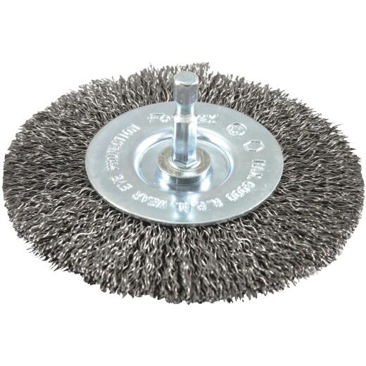 Forney 4 In. Hex Crimped, Coarse Drill-Mounted Wire Wheel