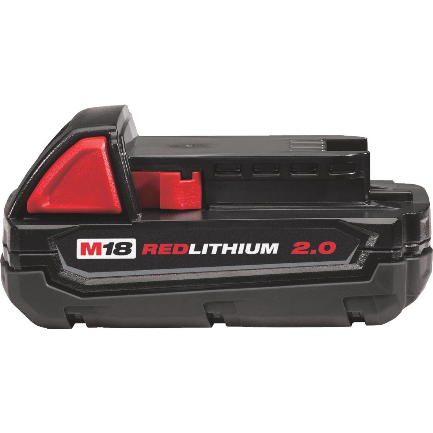 Milwaukee M18 REDLITHIUM 18 Volt Lithium-Ion 2.0 Ah Compact Tool Battery Image 1