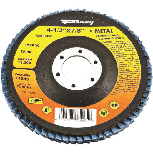Forney 4-1/2 In. 40-Grit Type 29 Blue Zirconia Angle Grinder Flap Disc