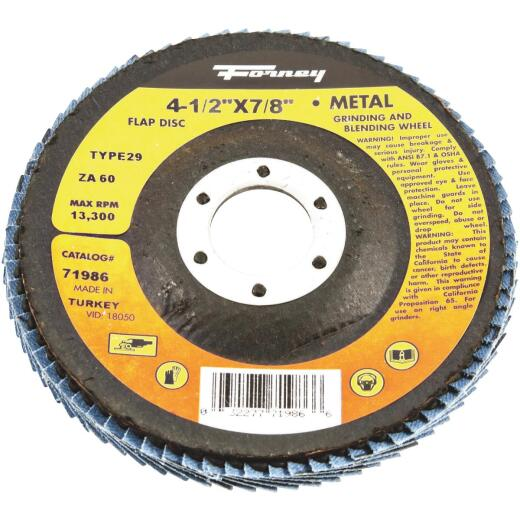 Forney 4-1/2 In. 60-Grit Type 29 Blue Zirconia Angle Grinder Flap Disc