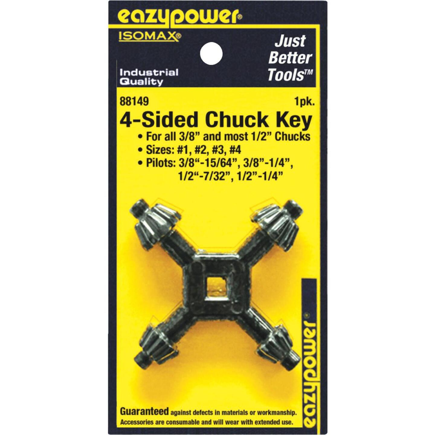 Eazypower 3/8 In. and 1/2 In. 4-Sided Chuck Key with 15/64 In., 1/4 In., 17/64 In. Pilots Image 1