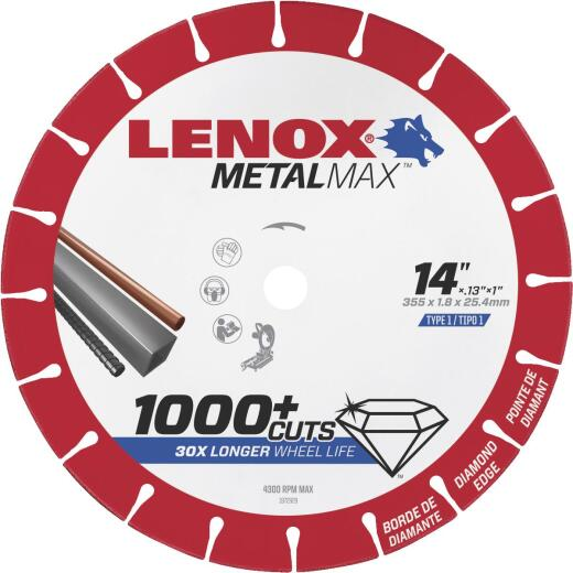 Lenox MetalMax 14 In. Segmented Rim Dry Cut Diamond Blade