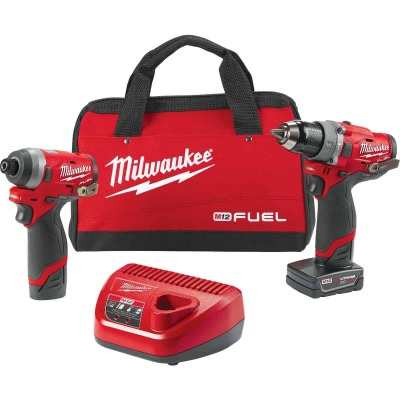 Milwaukee 2-Tool M12 FUEL 12V Lithium-Ion Brushless Hammer Drill & Impact Driver Cordless Tool Combo Kit