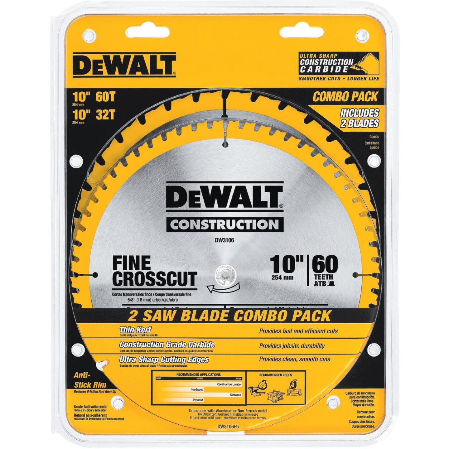 DeWalt Construction 10 In. Assorted Circular Saw Blade Set (2-Pack) Image 1