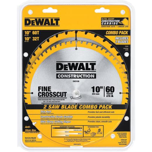 DeWalt Construction 10 In. Assorted Circular Saw Blade Set (2-Pack)