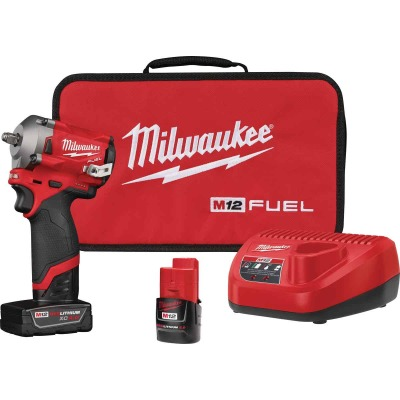 Milwaukee M12 FUEL 12 Volt Lithium-Ion Brushless 3/8 In. Stubby Cordless Impact Wrench Kit