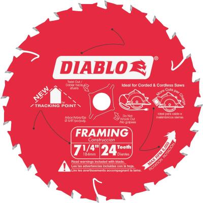 Diablo 7-1/4 In. 24-Tooth Framing Circular Saw Blade, Bulk