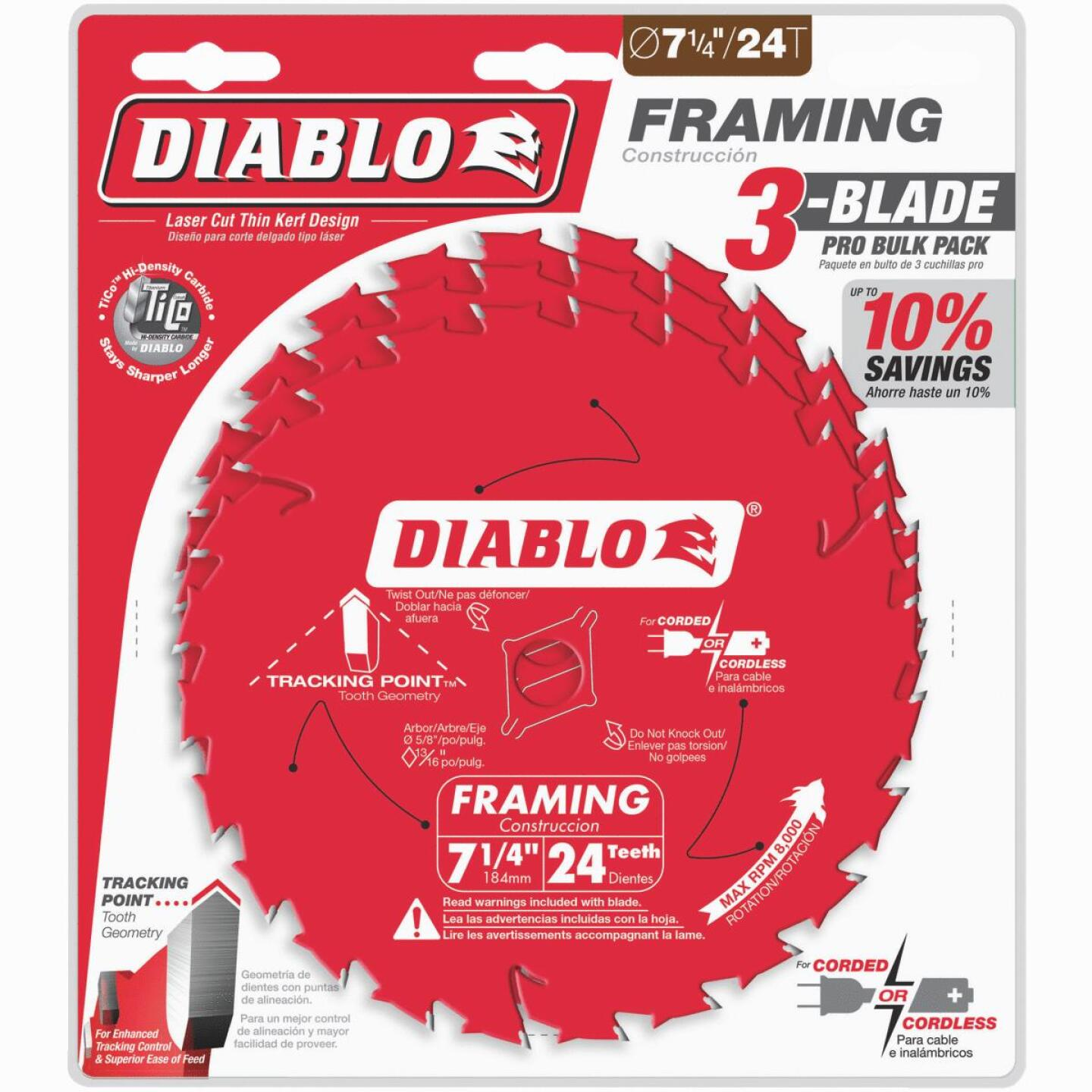 Diablo 7-1/4 In. 24-Tooth Framing Circular Saw Blade (3-Pack) Image 1