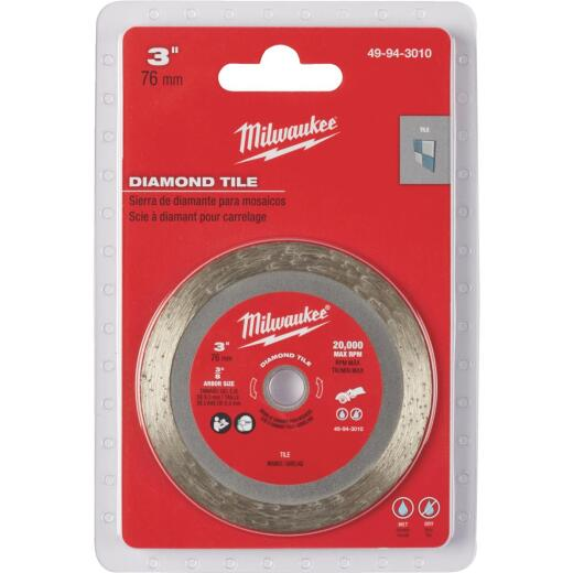 Milwaukee 3 in. Turbo Rim Dry/Wet Cut Diamond Tile Blade