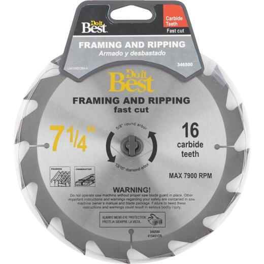 Do it Best 7-1/4 In. 16-Tooth Framing & Ripping Circular Saw Blade