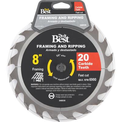 Do it Best 8 In. 20-Tooth Framing & Ripping Circular Saw Blade