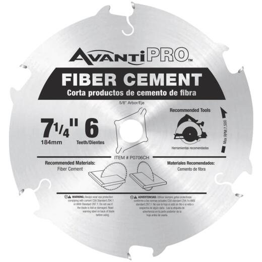 Avanti Pro 7-1/4 In. 6-Tooth Fiber Cement Circular Saw Blade