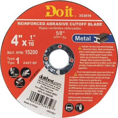 Do it Type 1 4 In. x 1/16 In. x 5/8 In. Metal Cut-Off Wheel