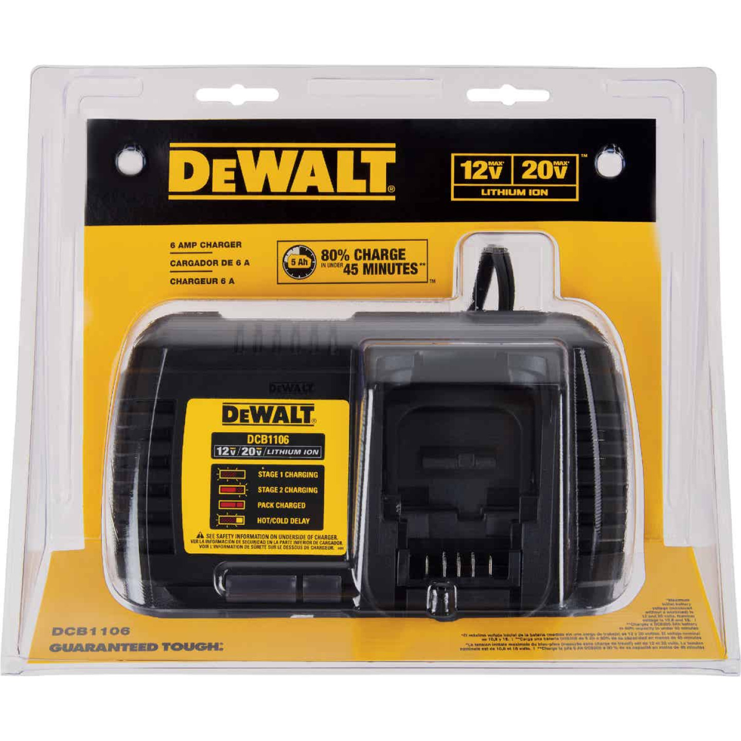 DeWalt 12 Volt MAX/20 Volt MAX and Flexvolt Lithium-Ion Battery Charger Image 1
