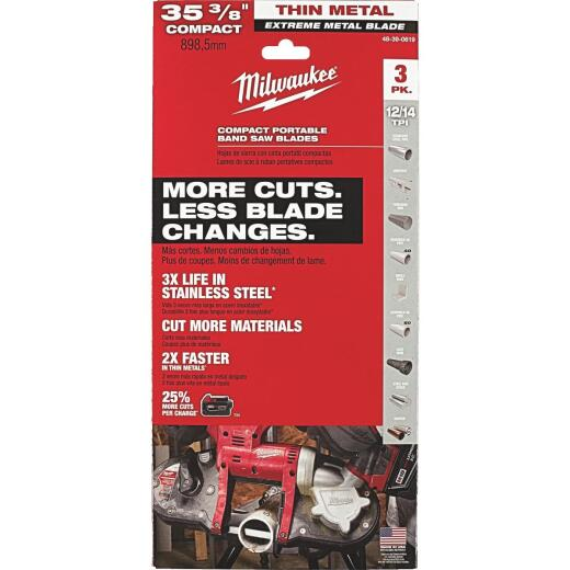 Milwaukee 35-3/8 In. 12/14 TPI Extreme Metal Band Saw Blade (3-Pack)