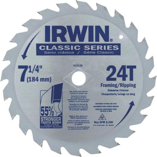 Irwin Classic Series 7-1/4 In. 24-Tooth Framing/Ripping Circular Saw Blade