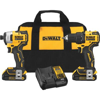 DeWalt 2-Tool Atomic 20 Volt MAX Lithium-Ion Brushless Drill/Driver & Impact Cordless Tool Combo Kit