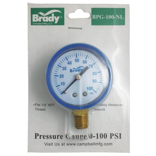 Campbell 1/4 In. x 2 In. 0 to 100 psi Pressure Gauge