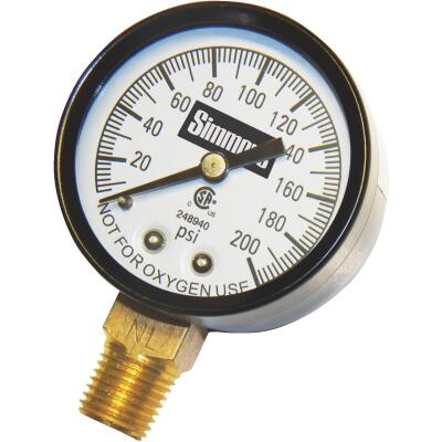 Simmons 1/4 In. MPT Fitting 200 psi Pressure Gauge