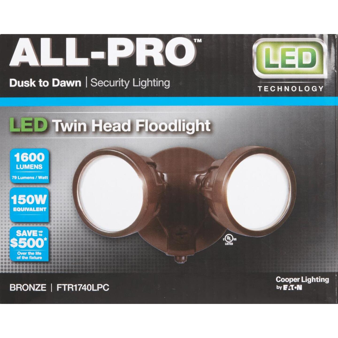 All-Pro Bronze Dusk To Dawn LED Floodlight Fixture Image 2