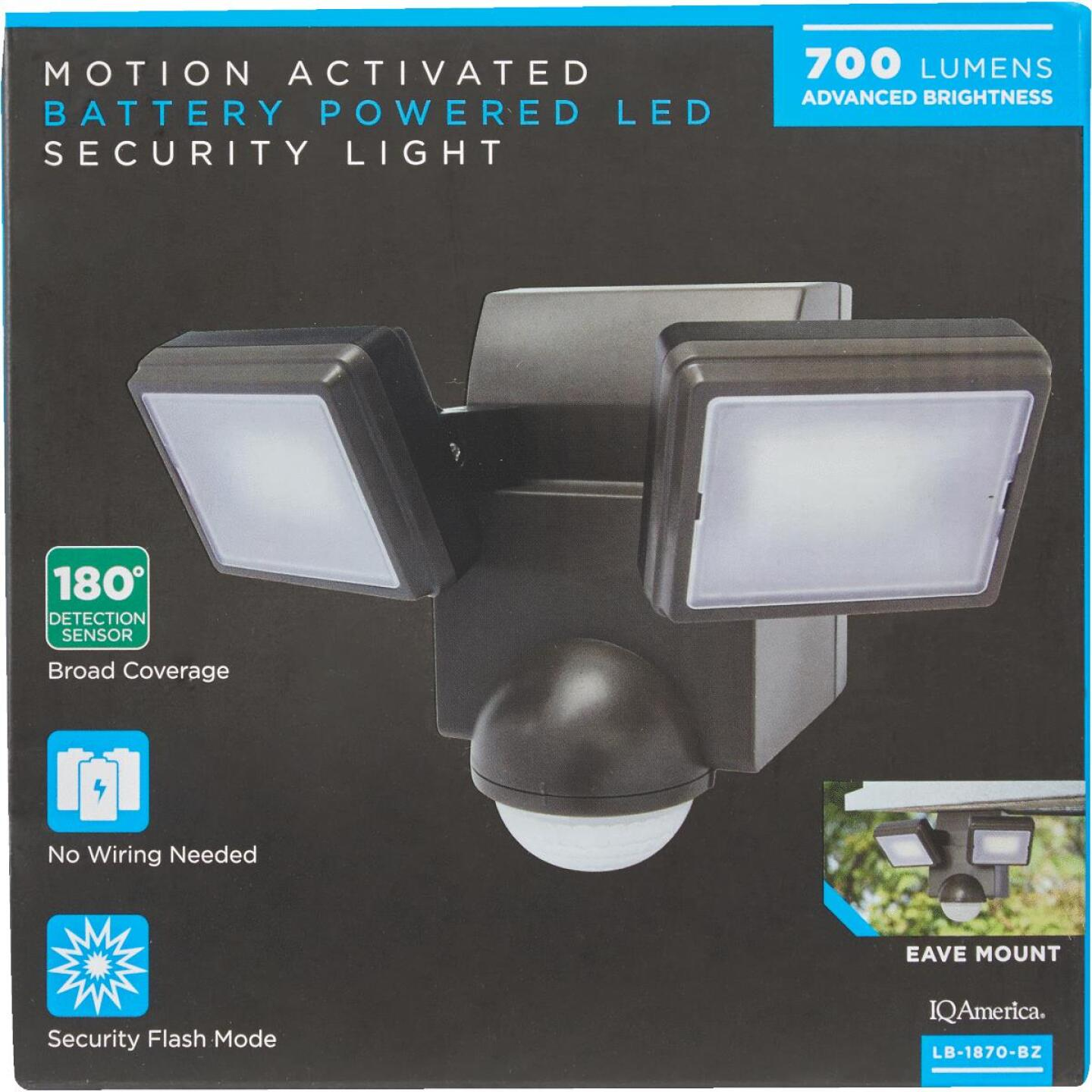 IQ America Bronze 700 Lm. LED Battery Operated 2-Head Security Light Fixture Image 2