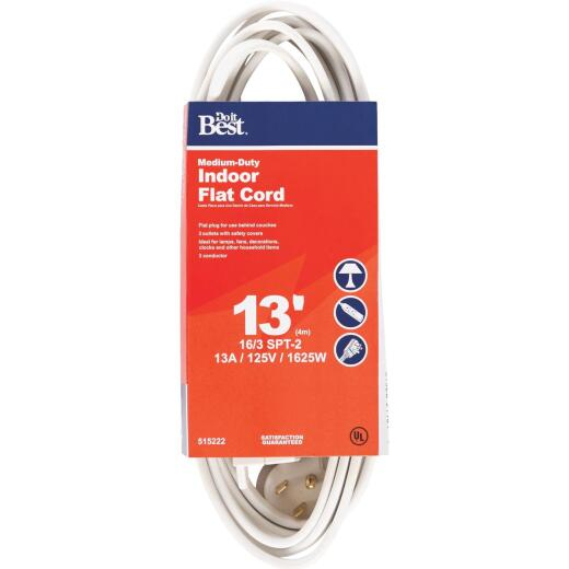 Do it Best 13 Ft. 16/3 Flat Plug White Extension Cord