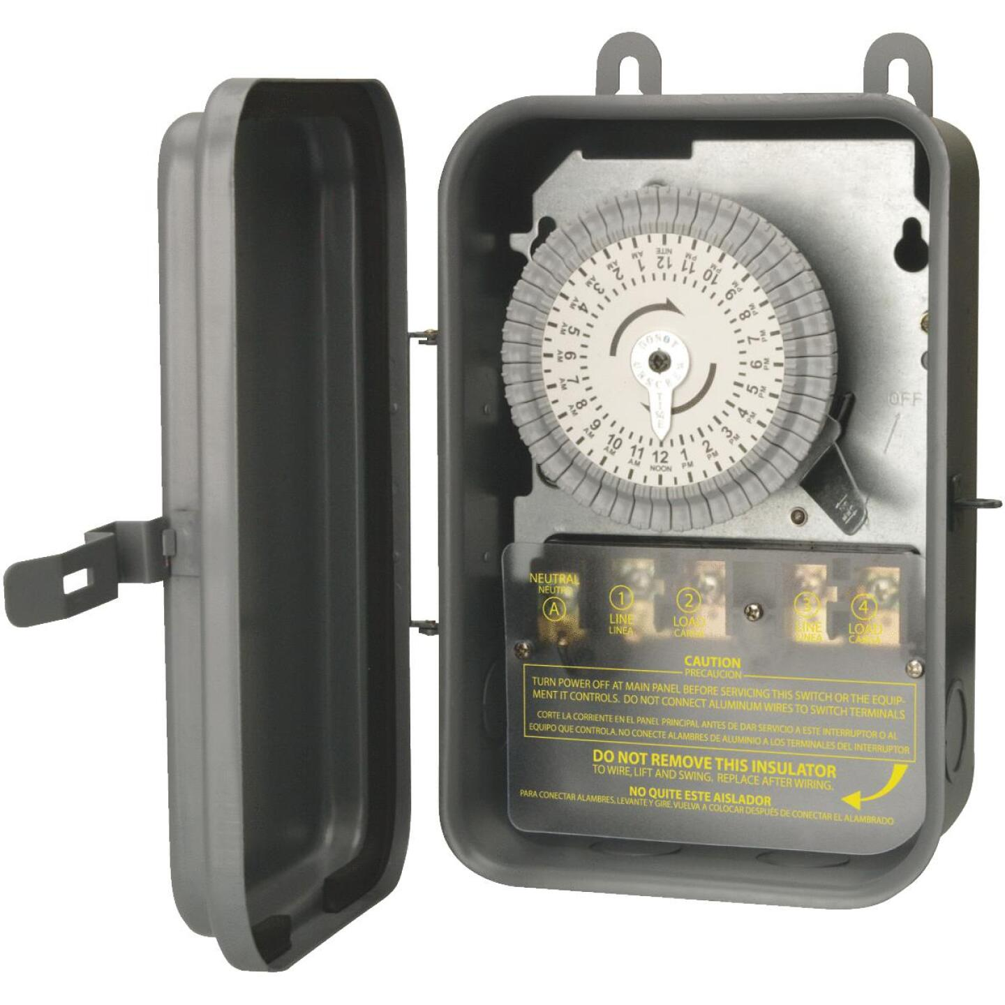 Woods Wire 40A 120VAC Gray DPST Outdoor Timer Image 1