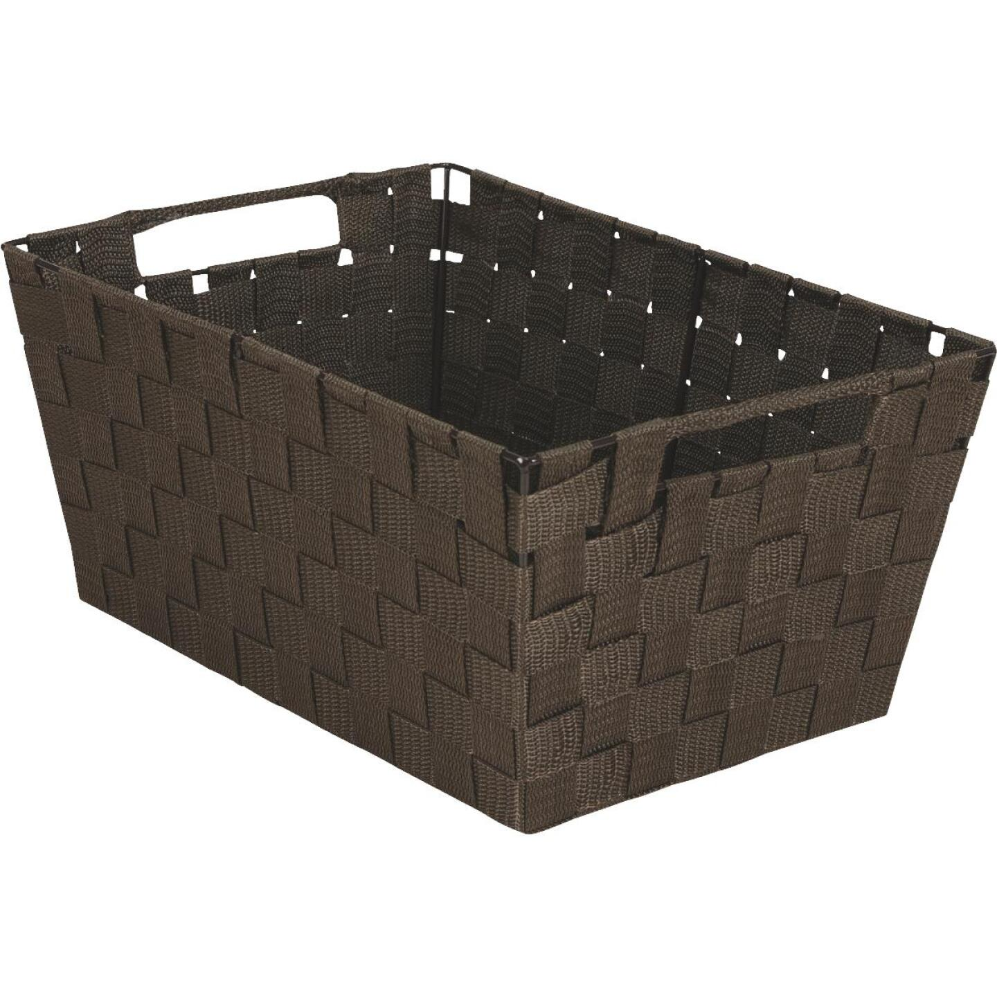 Home Impressions 10 In. W. x 6.75 In. H. x 14 In. L. Woven Storage Basket with Handles, Brown Image 1