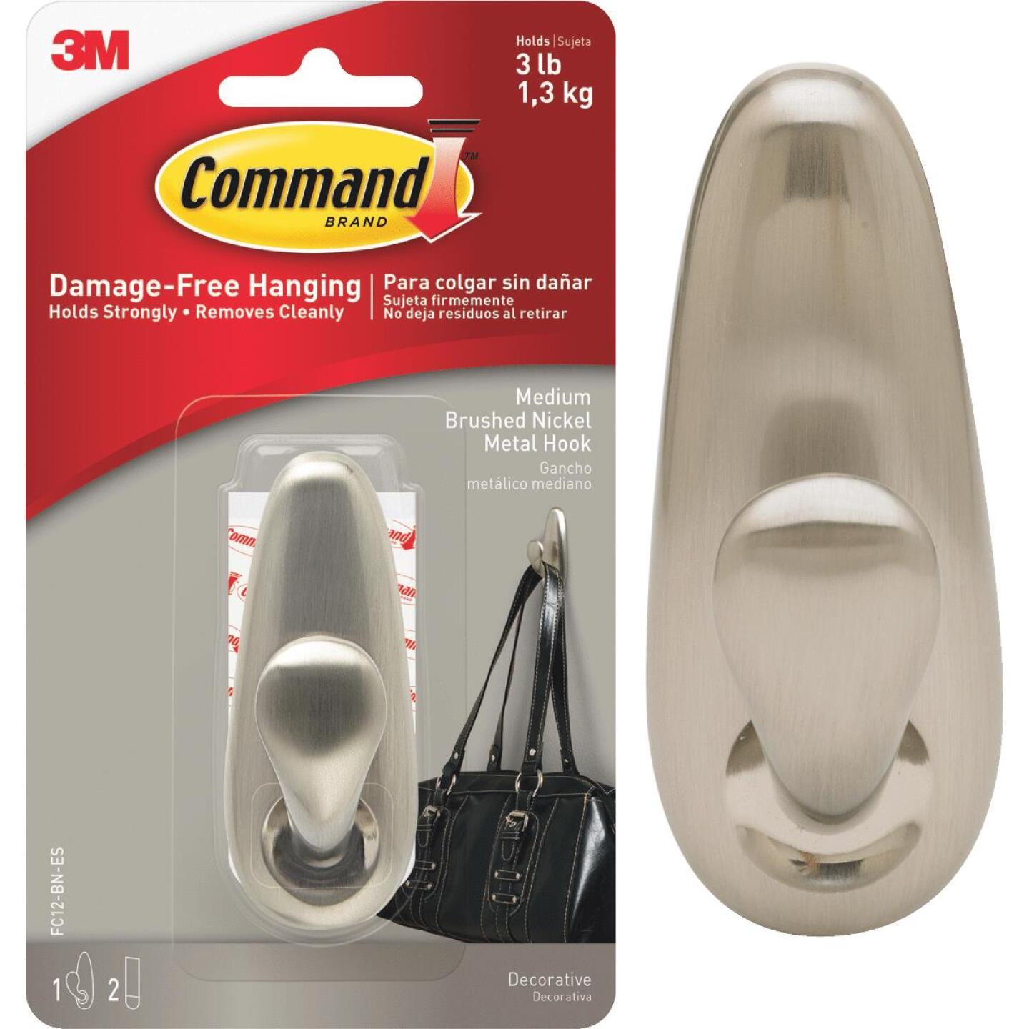 Command 1-1/4 In. x 3-1/4 In. Decorative Fashion Classic Metal Adhesive Hook Image 1
