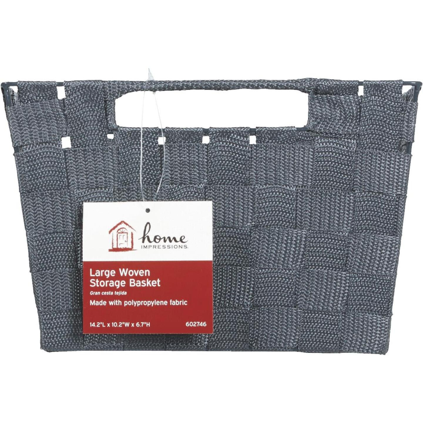 Home Impressions 10 In. W. x 6.75 In. H. x 14 In. L. Woven Storage Basket with Handles, Gray Image 2