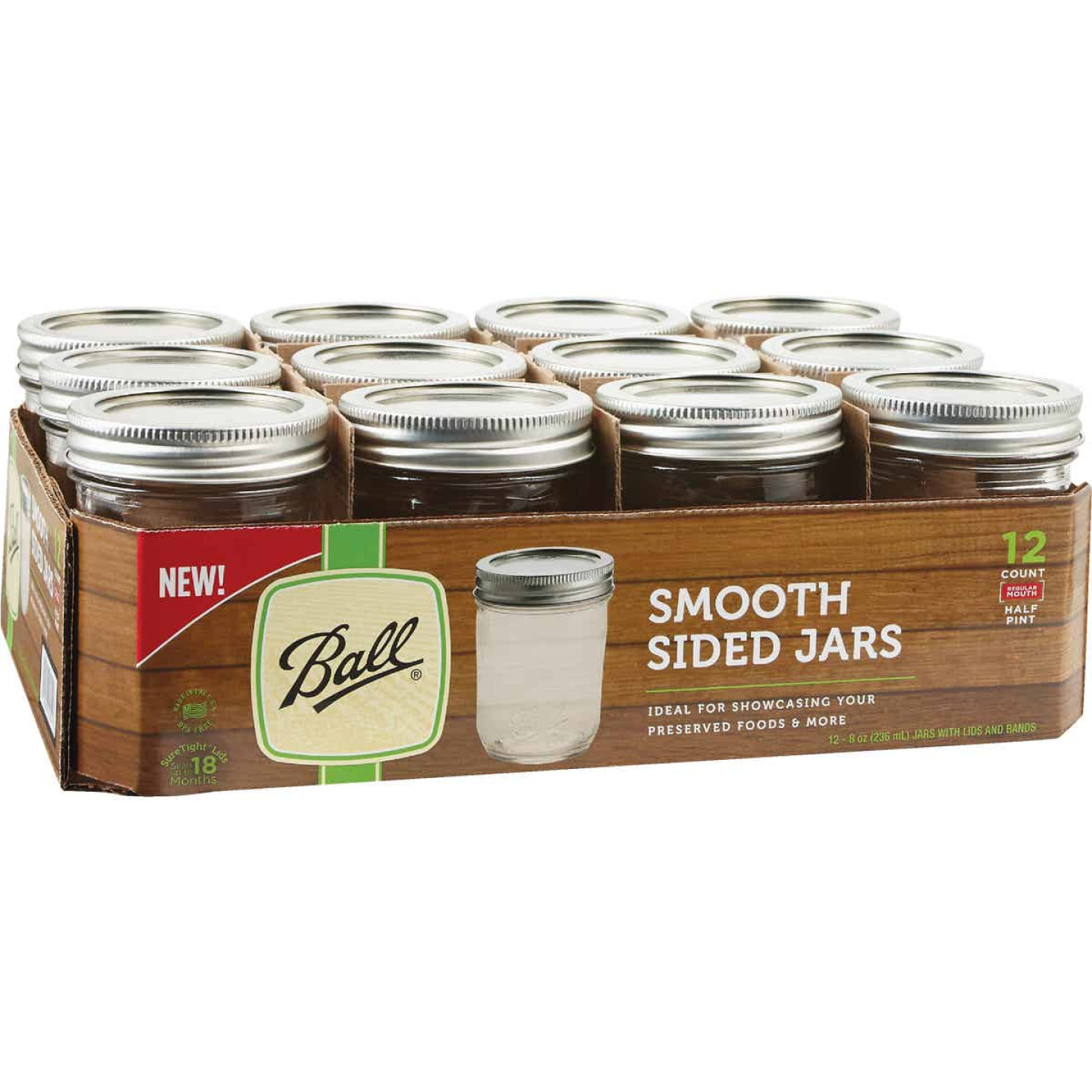 Ball 1/2 Pint Regular Mouth Smooth-Sided Silver Lid Canning Jar (12-Count) Image 2