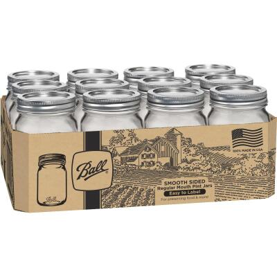 Ball Pint Regular Mouth Smooth-Sided Silver Lid Canning Jar (12-Count)