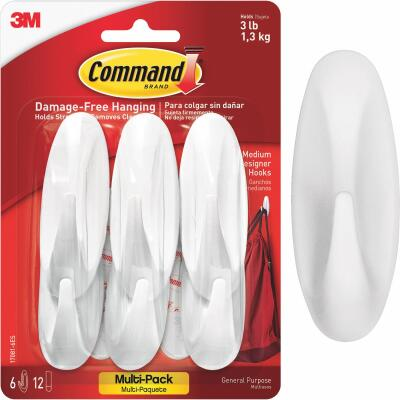 Command 1-1/8 In. x 3-1/8 In. Utility Designer Adhesive Hook (6 Pack)
