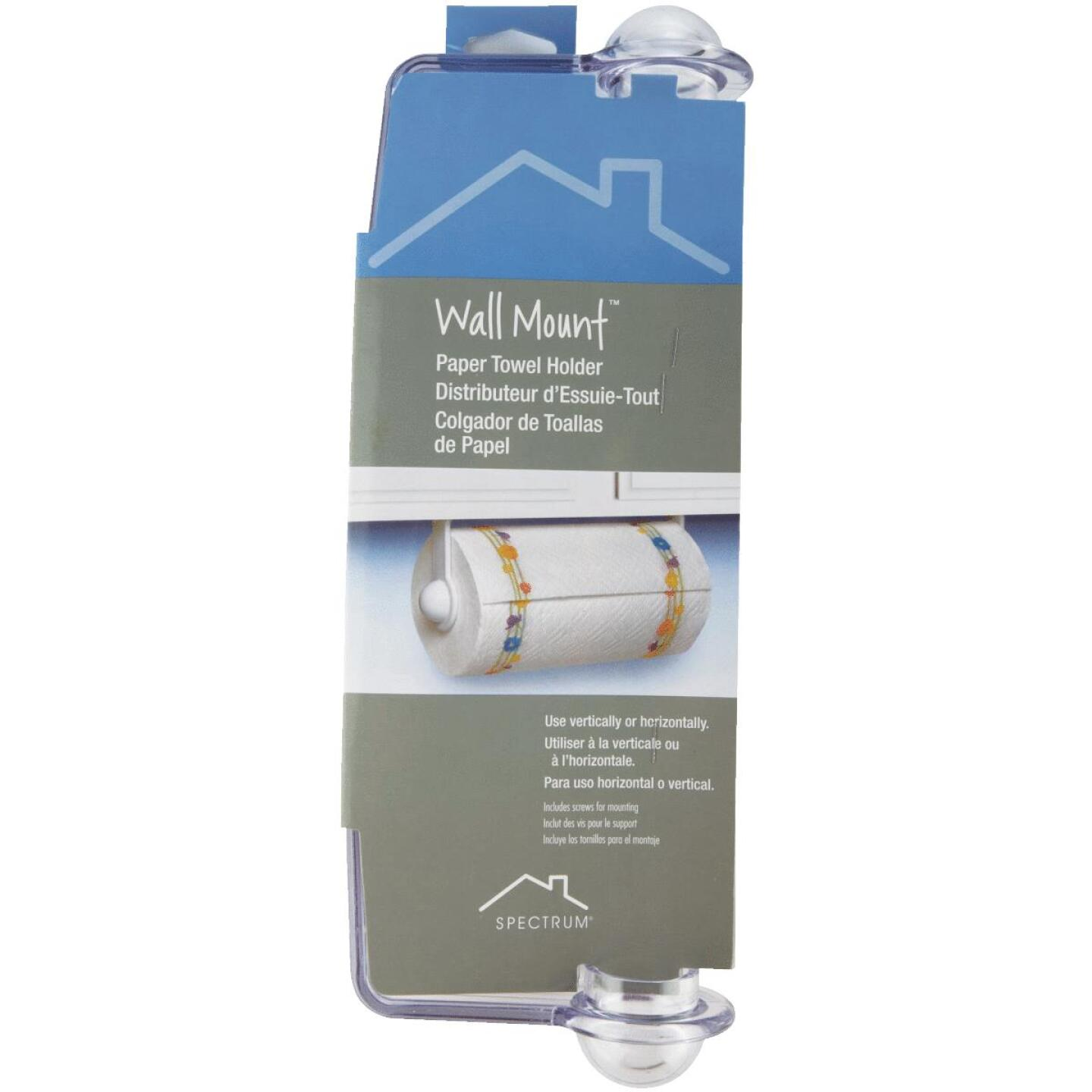 Spectrum Clear Plastic Wall or Cabinet Paper Towel Holder Image 2