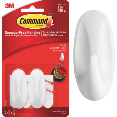 Command 1 In. x 2-1/8 In. Utility Designer Adhesive Hook (2 Pack)