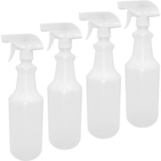SupplyAid 32 Oz. HD Leak-Proof Plastic Spray Bottles (4 Pack)