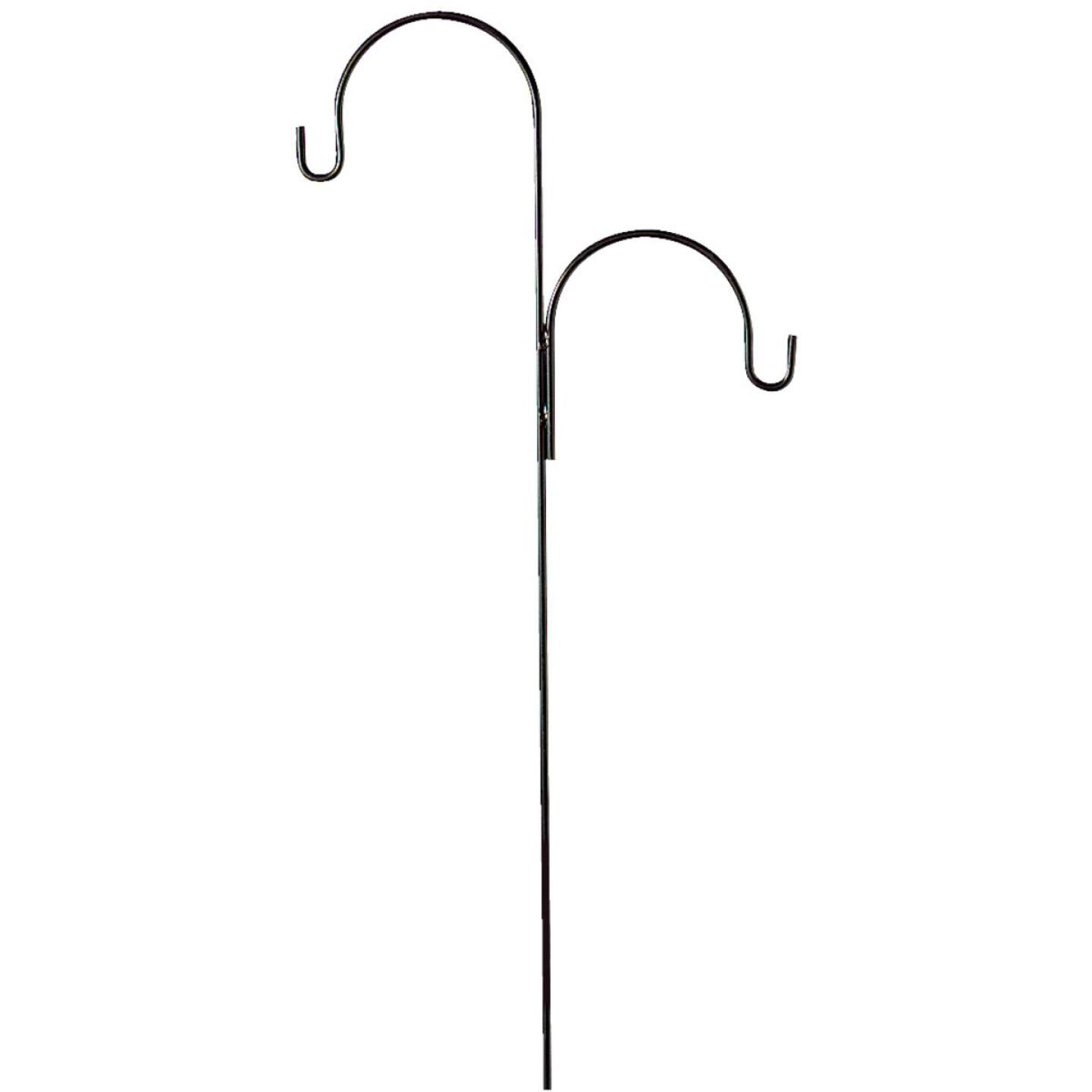 Best Garden 91 In. Black Wrought Iron Double Offset Shepherd Hook Image 2