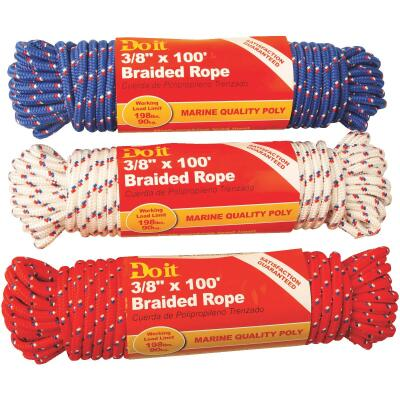 Do it 3/8 In. x 100 Ft. Assorted Colors Diamond Braided Polypropylene Packaged Rope