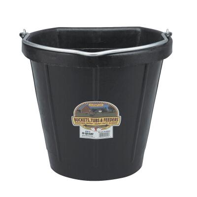 Little Giant Duraflex 18 Qt. Black Rubber Flat Back Bucket