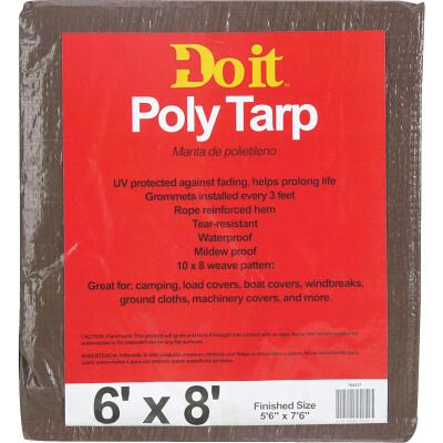 Do it Green/Brown Woven 6 Ft. x 8 Ft. Medium Duty Poly Tarp