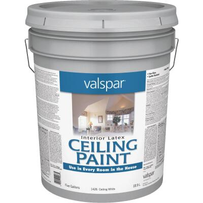 Valspar Latex Flat Ceiling Paint, White, 5 Gal.