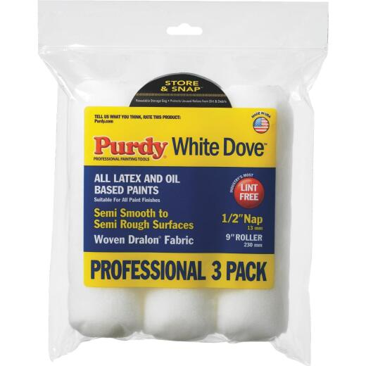 Purdy White Dove 9 In. x 1/2 In. Woven Fabric Roller Cover (3-Pack)